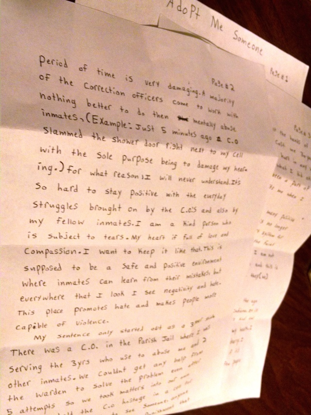 Letters From Prison: Please Adopt Me, Someone - Adopt an Inmate
