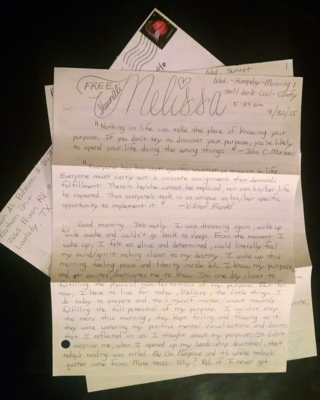Letters From Prison: Be On Purpose - Adopt an Inmate
